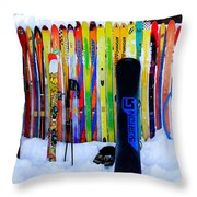 Adventure Ski Throw Pillow