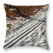 Ski Track In Sunlight In Spring Throw Pillow
