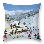 Ski Whizzz Throw Pillow by Judy Joel