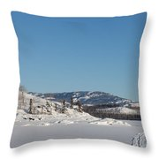 Skidoo Track On Frozen Lake Throw Pillow