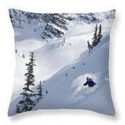 Skier Hitting Powder Below Nak Peak Throw Pillow