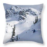 Skier Shredding Powder Below Nak Peak Throw Pillow