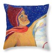 Skiers Exhilaration  Throw Pillow