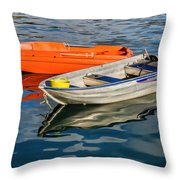 Skiffs At The Harbour Throw Pillow