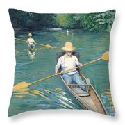 Skiffs Throw Pillow by Gustave Caillebotte