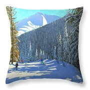 Skiing  Beauregard La Clusaz Throw Pillow
