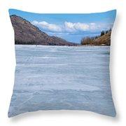 Skiing On Frozen Lake Laberge Yukon Canada Throw Pillow