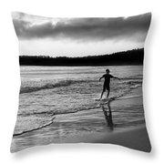 Skimboarder Sunser #1 - Black And White Throw Pillow