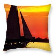 Skipjack At Sunset Throw Pillow