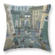 Skipping By The Green Door Throw Pillow