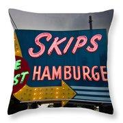 Skips Hamburgers Throw Pillow