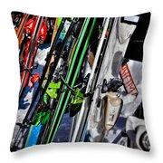 Skis At Mccauley Mountain II Throw Pillow