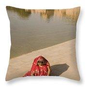 Skn 1696 Rangoli At Gadisar Throw Pillow