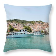Skopelos Harbour Greece Throw Pillow
