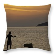 Skopelos Sunset - Fisher Boy - 1 Throw Pillow