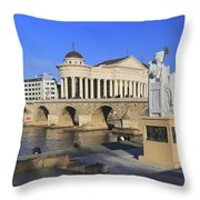 Skopje City Center Macedonia Throw Pillow
