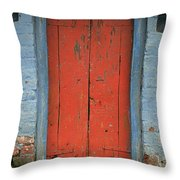 Skc 0401 Closed Red Door Throw Pillow