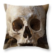 Skull And Old Book Throw Pillow