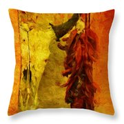 Skull And Peppers Throw Pillow