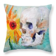 Skull And Sunflower Throw Pillow