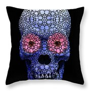 Skull Art - Day Of The Dead 1 Stone Rock'd Throw Pillow