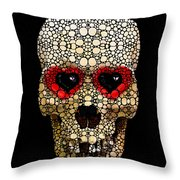 Skull Art - Day Of The Dead 3 Stone Rock'd Throw Pillow