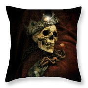 Skull In Crown Throw Pillow