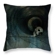 Skull In Drainpipe Throw Pillow