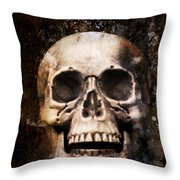 Skull In Earth Throw Pillow