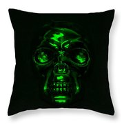 Skull In Green Throw Pillow