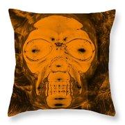 Skull In Negative Orange Throw Pillow