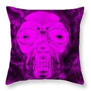 Skull In Negative Purple Throw Pillow