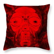 Skull In Negative Red Throw Pillow
