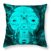 Skull In Negative Turquois Throw Pillow