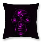 Skull In Purple Throw Pillow