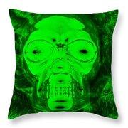 Skull In Radioactive Negative Green Throw Pillow