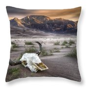 Skull In The Desert Throw Pillow