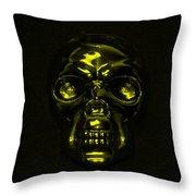 Skull In Yellow Throw Pillow