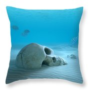Skull On Sandy Ocean Bottom Throw Pillow by Johan Swanepoel