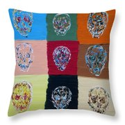 Skull Pop Nine Throw Pillow