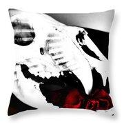 Skull Rose Throw Pillow
