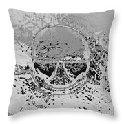 Skull Smoking A Wide Cigar.  Throw Pillow