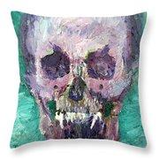 Skull Vampire Oil Portrait Throw Pillow