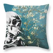Skull With Burning Cigarette On Cherry Blossom Throw Pillow