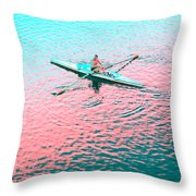 Skulling Boat At Sunset Throw Pillow