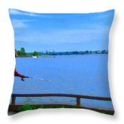 Sky Blue Calm Waters Fisherman On The Pier  Lachine Canal Montreal Summer Scenes Carole Spandau Throw Pillow