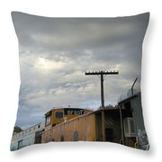 Sky Clouds And Graffiti Old Santa Fe Railyard Throw Pillow
