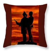 Sky Fire - 73rd Ny Infantry Fourth Excelsior Second Fire Zouaves-b1 Sunrise Autumn Gettysburg Throw Pillow by Michael Mazaika