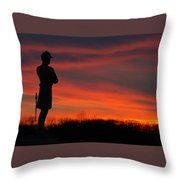 Sky Fire - Aotp 124th Ny Infantry Orange Blossoms-2a Sickles Ave Devils Den Sunset Autumn Gettysburg Throw Pillow by Michael Mazaika