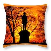 Sky Fire - Flames Of Battle 50th Pennsylvania Volunteer Infantry-a1 Sunset Antietam Throw Pillow by Michael Mazaika